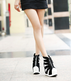 Womens Trendy Edgy Laceup Wedge Platforms