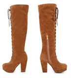 Womens Trendy Lace-Up Knee High Heel Boots