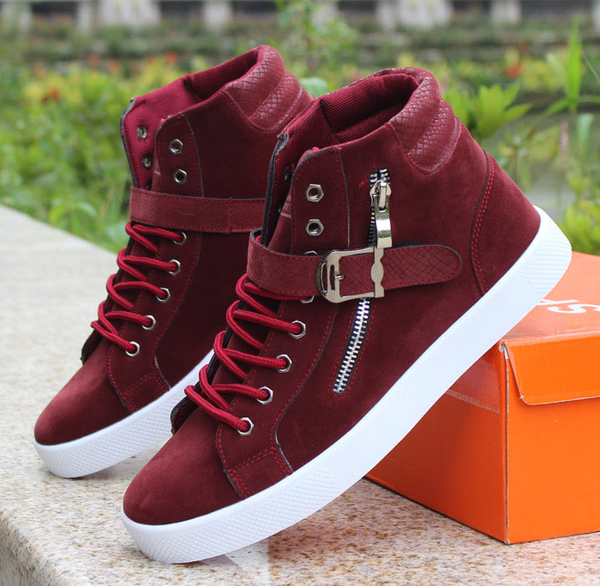 Mens Trendy High Top Ankle Strap Sneakers Shoesity