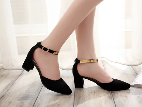 Womens Classy Metal Ankle Strap Heels