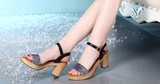 Womens Charming Ankle Strap Heeled Sandals