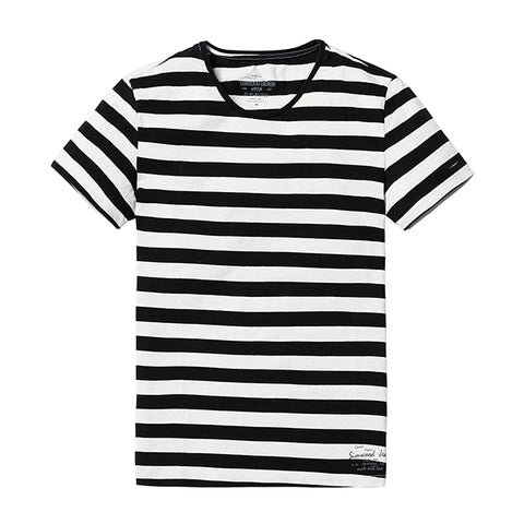 Mens Fashion O-neck Short-sleeved Slim Fit Blue Striped T-Shirt