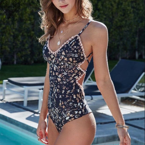 Womens One Piece Swimsuit Sexy Flower Print Swimwear Push Up Swim Suits One-Piece Monokini