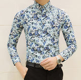 Mens Cool Casual Colorful Fashion Print Slim Fit Shirt