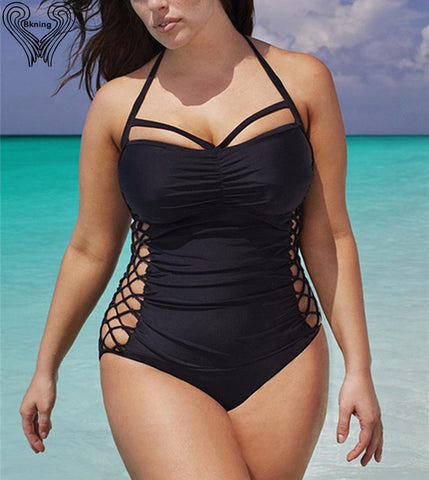 Womens Plus Size One Piece Push Up Swimsuit Monokini