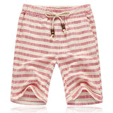 Mens Summer Cotton Linen Beach Plaid Casual Shorts