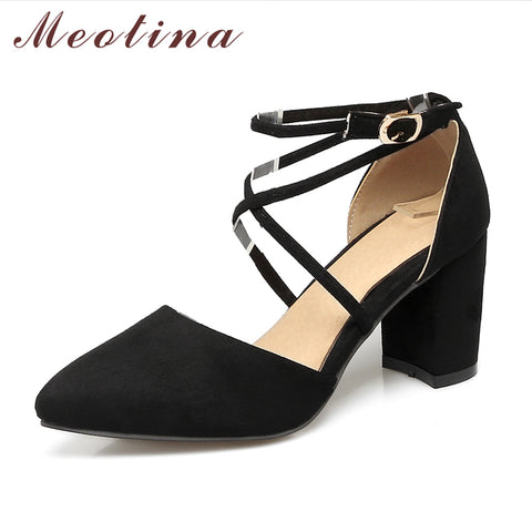 Womens Pumps Gladiator Ankle Strap High Heels Cross-tied Thick Heel Pointed Toe Dress Shoes