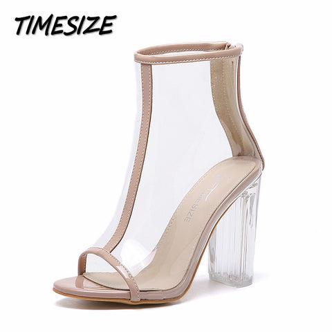 Womens Edgy Transparent Thick Heel Peep Toe Party Dress Shoes