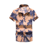 Mens Fashion Short Sleeve Hawaiian Summer Slim Fit Breathable Casual Floral Shirt