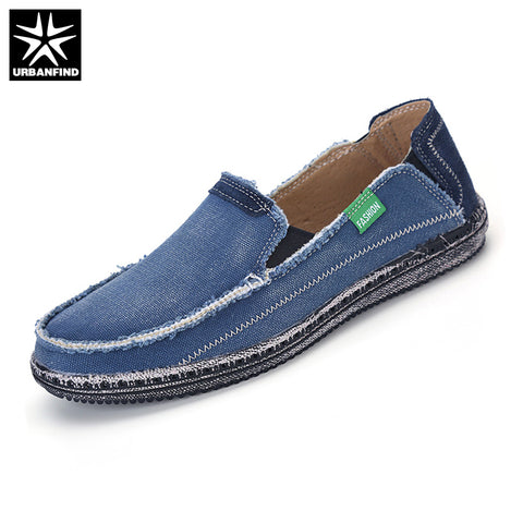 Mens Jeans Canvas Breathable Summer Slip On Flats Casual Driving Loafers Shoes