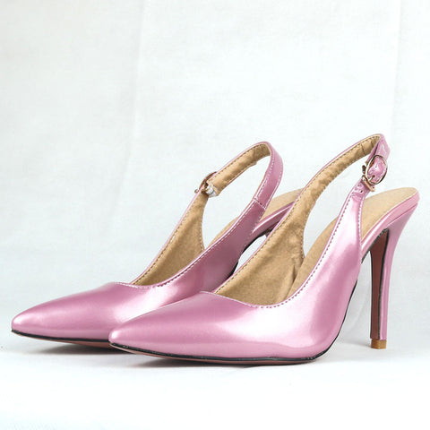 fca9f7bb9620 Womens New Sexy Glossy Black Red Nude Sandals Purple Pink High Heel Lady  Party Dress Shoes