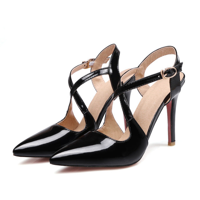 c99e6a70759f Womens Sexy Apricot Red Pink Dressed Sandals Black High Heel Slingback Shoe