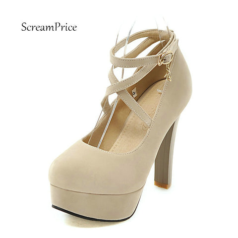Womens Suede Ankle Strap Buckle Platform High Heel Sexy Round Toe Dress Pumps Square Shoes