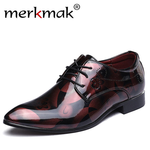 Mens Print Dress Patent Leather Luxury Fashion Groom Wedding Men Oxford Shoes