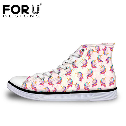 Womens Hot 3D Unicorn Design Vulcanized Classic High Top Canvas Casual Shoes