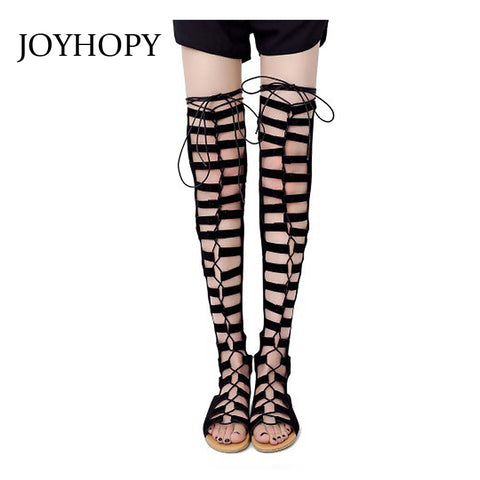 Womens Nubuck Leather Gladiator Fashion Suede Thigh High Summer Hollow Out Over The Knee Sandals