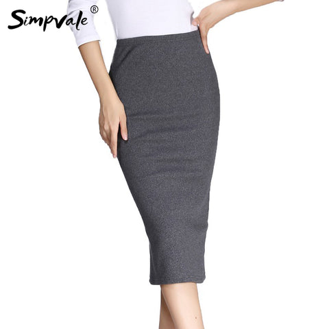 Womens Solid Color Stretched Knitted Pencil Fashion Middle Waist Slim Skirt