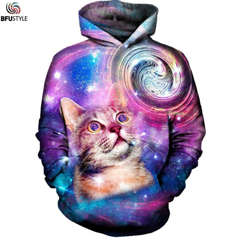 Mens Space Galaxy Cat New Fashion 3D Printed Hooded Casual Hip Hop Streetwear Hoodie