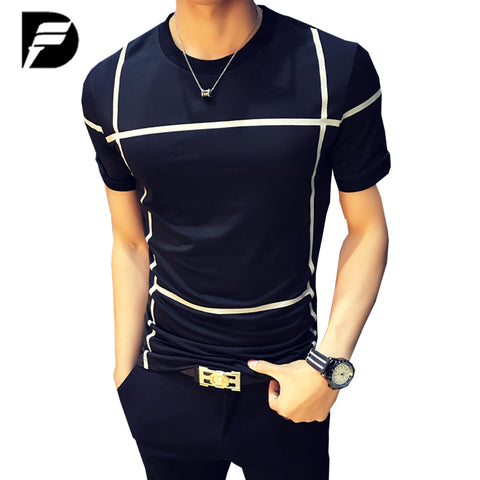 Mens Fashion O-Neck Short-Sleeved Slim Fit Striped T-Shirt