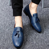 Mens New Genuine Leather Round Toe Slip On Dress Loafer Shoes
