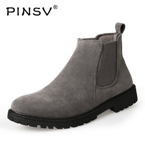 Mens Chelsea Ankle Military Shoes Cow Suede Leather Boots