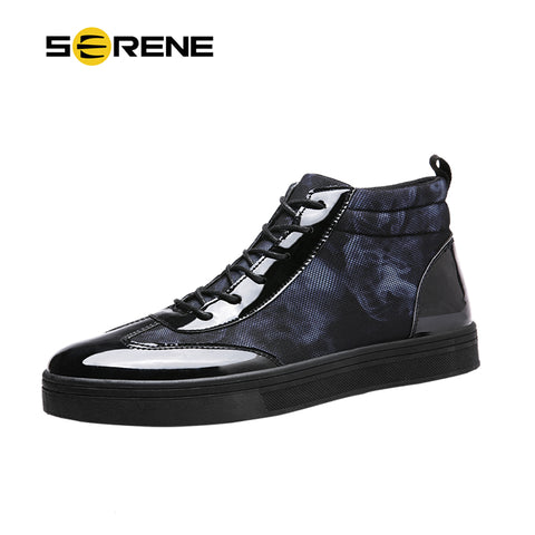 Mens Fashion Basic Casual Lace-Up Ankle Print Boots Sneaker Shoes