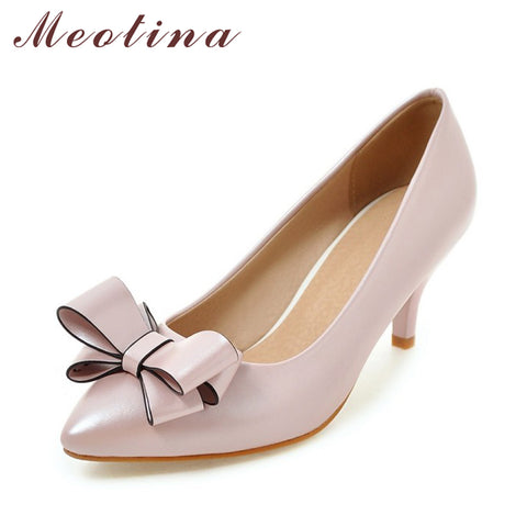 Womens Dress Party New Bow Ladies Pumps Casual Pink Heels