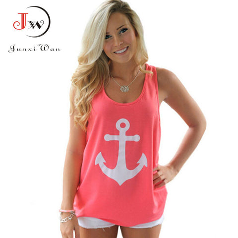 Womens Sleeveless Back Bow Anchors Print Sexy Chiffon Shirts Top