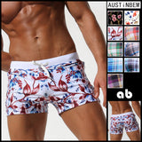 Mens Pocket Floral Swimwear Shorts Sexy Swimming Trunks
