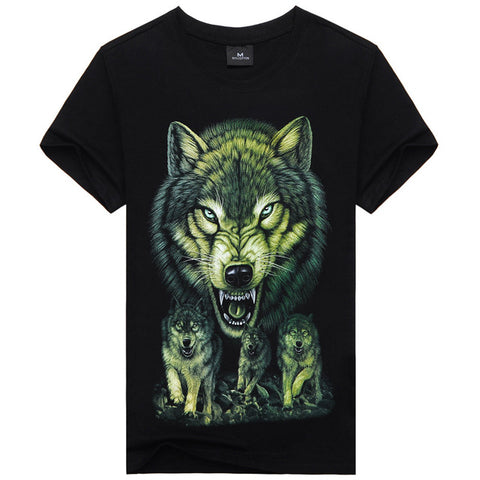 Mens Fashion T-shirt 3D Print Nightmare Wolf Short-Sleeved Casual Tops Tee