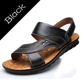 Mens Split Summer Leather Comfortable Slip On Casual Sandals