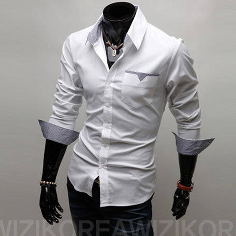 Mens Casual Pocket Slim Fit Work Party Dress Shirt