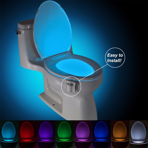 Motion Sensor Toilet LED Lamp Human Motion Activated 8 Color Automatic RGB Night Light