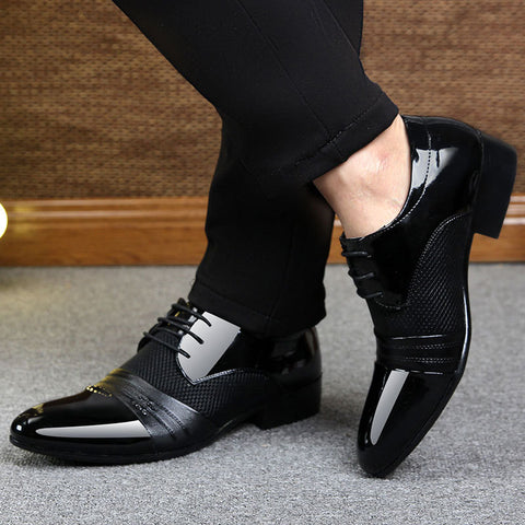 Mens Patchwork Lace Up Breathable Dress Shoes