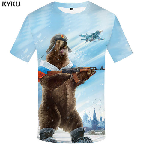 Mens Funny T-shirt Bear War Tshirt Military Tee