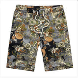 Mens Summer Casual Shorts Slim Fit Cotton Vintage Flower Print Beach Stylish Shorts