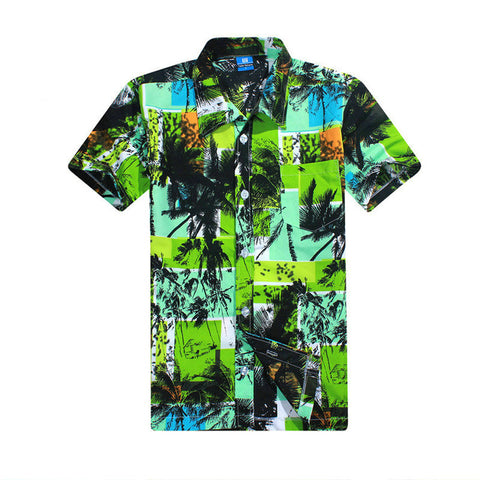 Mens Summer Fashion Beach Slim Fit Short Sleeve Casual Hawaiian Shirt