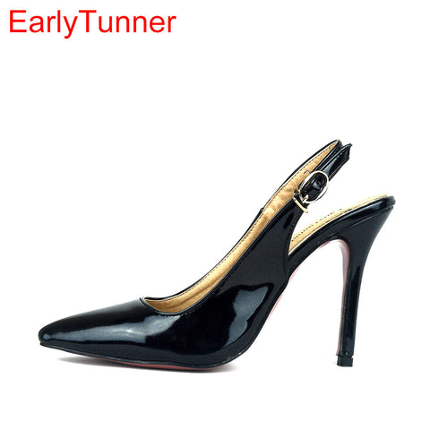 Womens New Sexy Glossy Black Red Nude Sandals Purple Pink High Heel Lady  Party Dress Shoes 8cc1776fa2c5