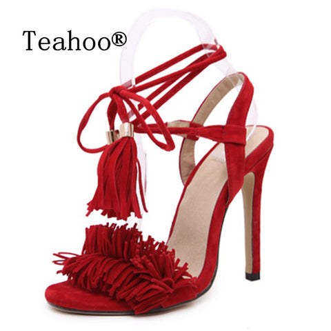 Womens Gladiator High Heel Sandals Sexy Tassel Shoes