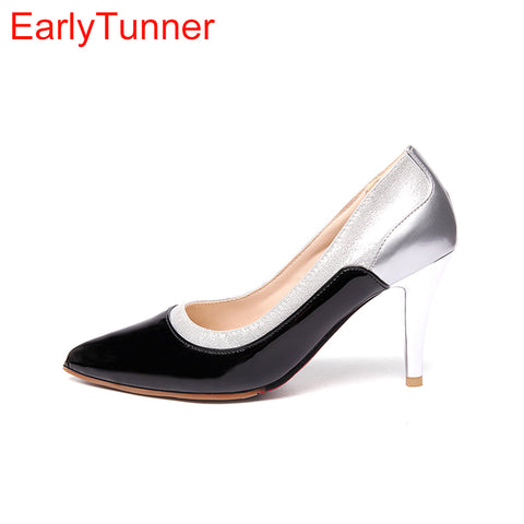 Womens Glossy Glamour Pumps Black Red High Heels Dress Formal Shoes