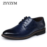 Mens Brogue Lace-up Style Leather Solid Pointed Toe Dress Shoes