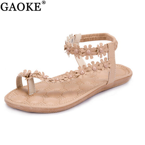 Women Classic Flower Gladiator Style Beading Sandals