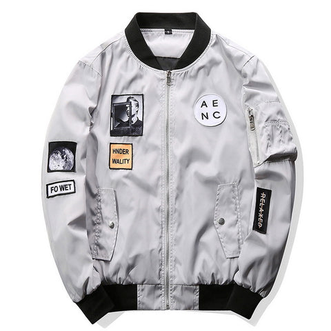 Mens Fashion Bomber Hip Hop Patch Design Slim Fit Pilot Bomber Jacket