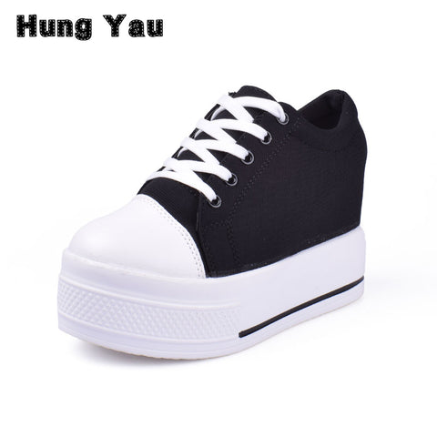 Womens Wedge Heel Canvas Platform Vulcanized Hidden Heel Height Increasing Casual Shoes