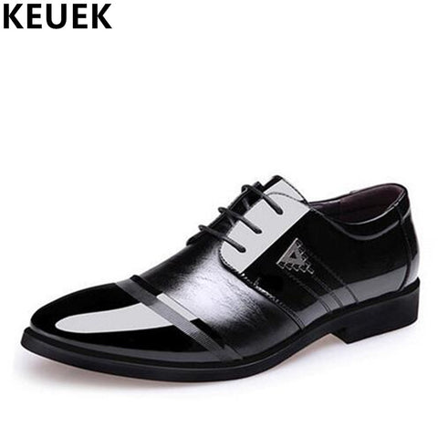 Mens Office Pointed Toe Dress Lace-Up Shoes
