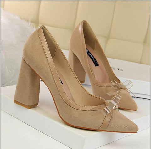 Womens Summer Fashion Sexy Transparent Bow Point Toe High Dress Shoe Heels