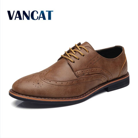 Mens Luxury Leather Brogue Casual British Style Dress Shoes