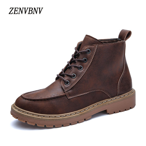 Mens British Retro Leather Brown Motorcycle Lace Up Casual Boots
