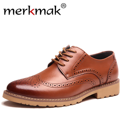 Mens Fashion Business Dress Brogue Party Retro Leather Black Brown Round Toe Oxford Shoes