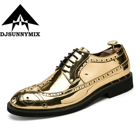 Mens Dress Fashion Leather Lace-Up Brogue Business Wedding Shoes